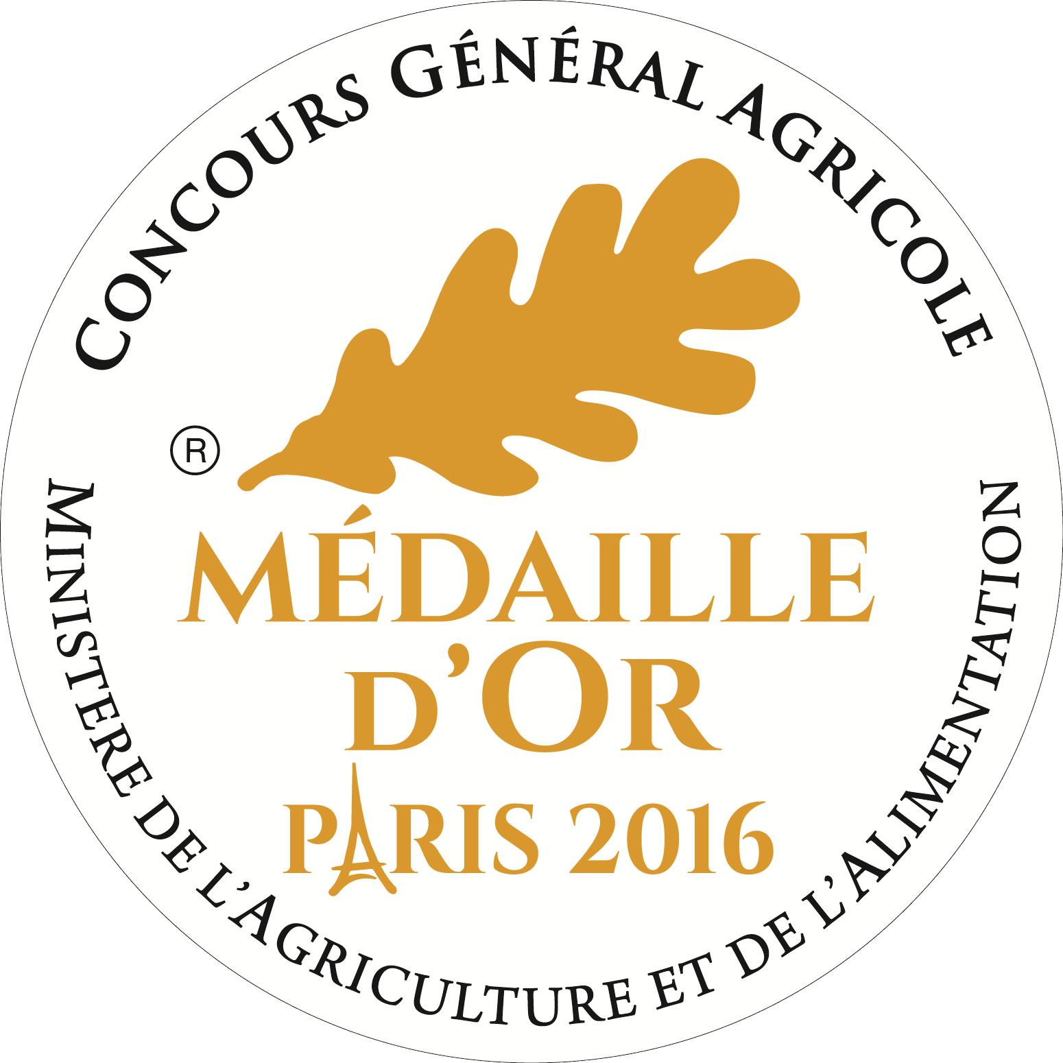 Médaille d'Or au Concours Général Agricole 2016 à Paris